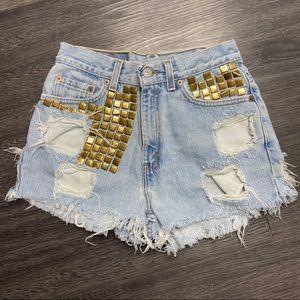 Levi's Vintage 512 Cut Off Studded Denim Shorts